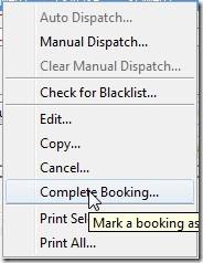 Complete Booking menu